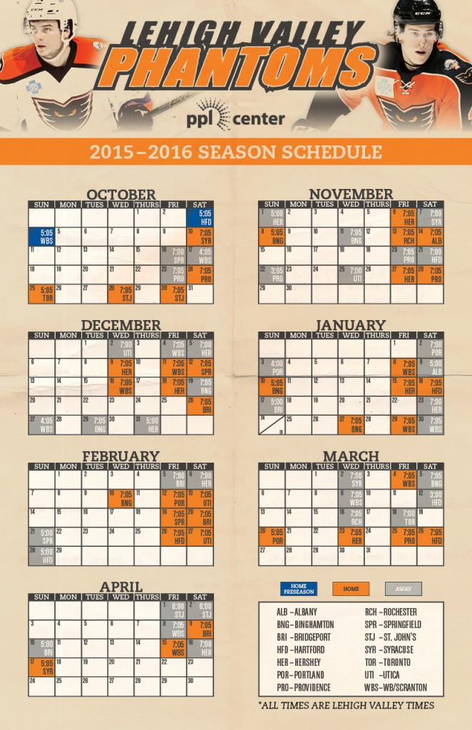 photo regarding Flyers Printable Schedule referred to as Phantoms Unveil 2015-2016 Month to month Year Program - Lehigh