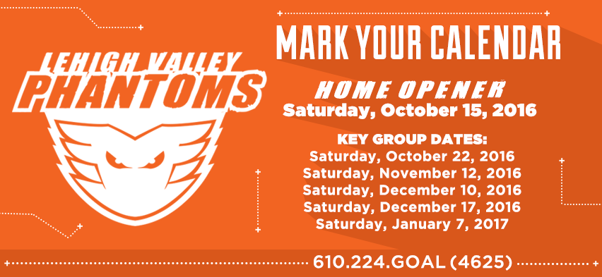 Phantoms Home Opener Set For Saturday, October 15