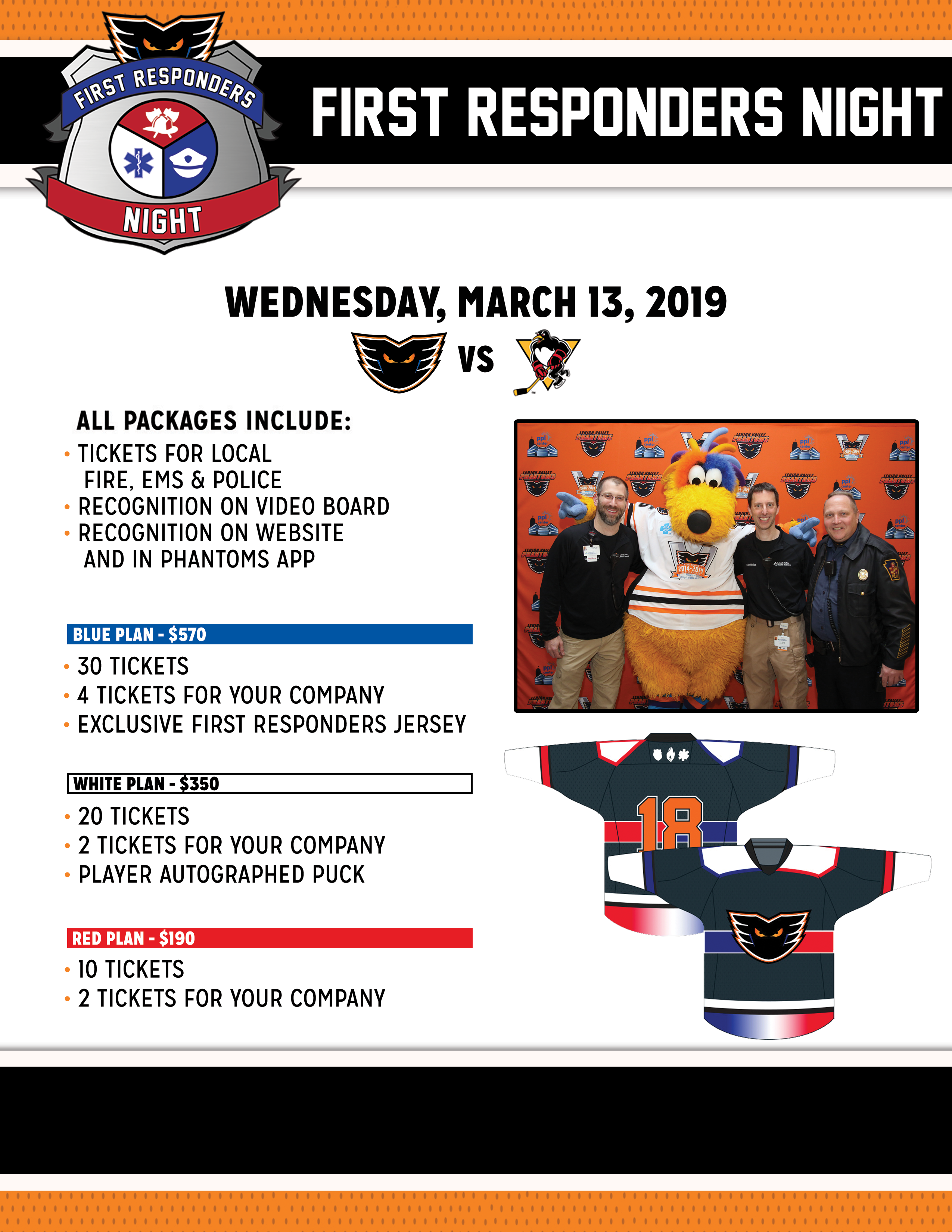 For more information about First Responders Night or to purchase a ticket  package 204be0261