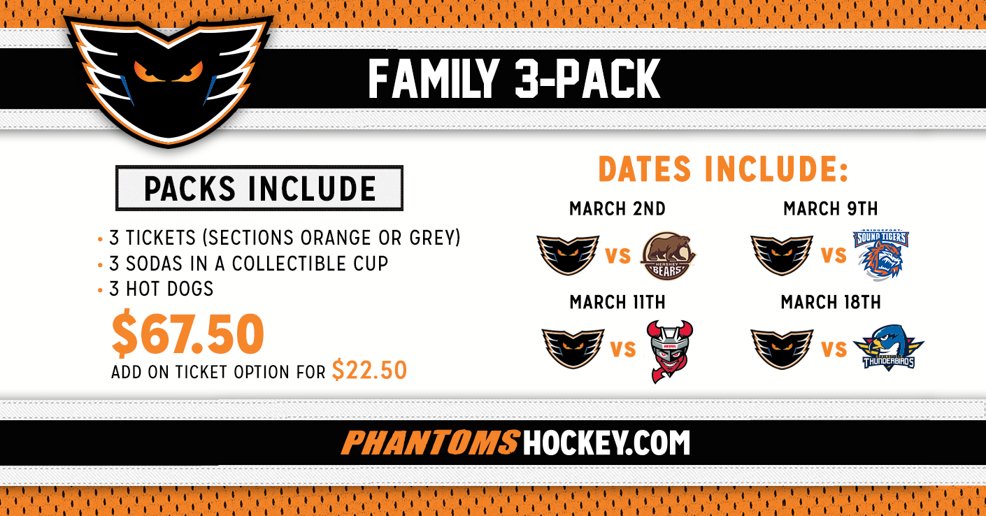Family 3-Packs Available Now! Secure Yours Today for Select March Games