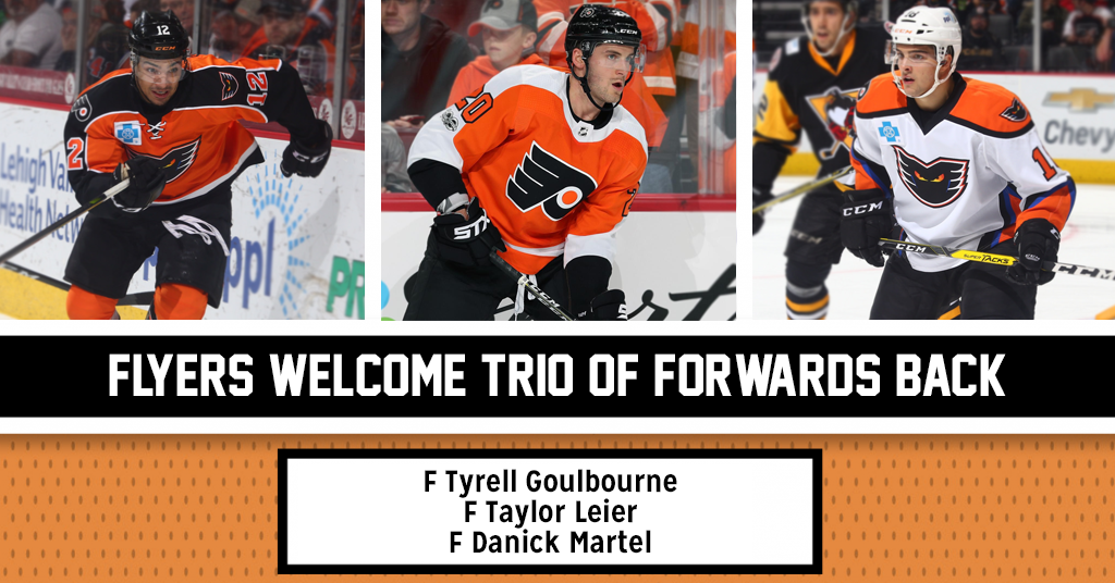 Flyers Re-Sign Goulbourne and Leier, Martel Accepts Qualifying Offer