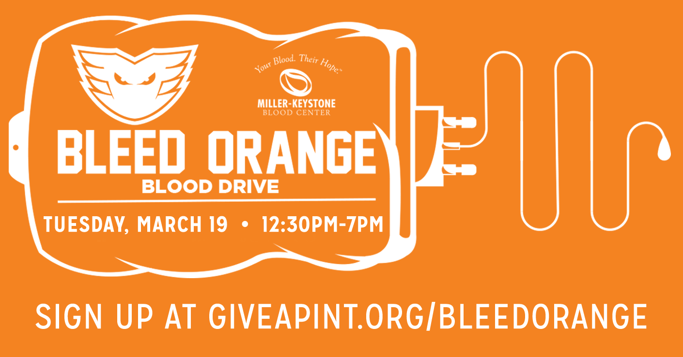 Lehigh Valley Phantoms 5th Annual Bleed Orange Blood Drive @ PPL Center Tuesday, March 19